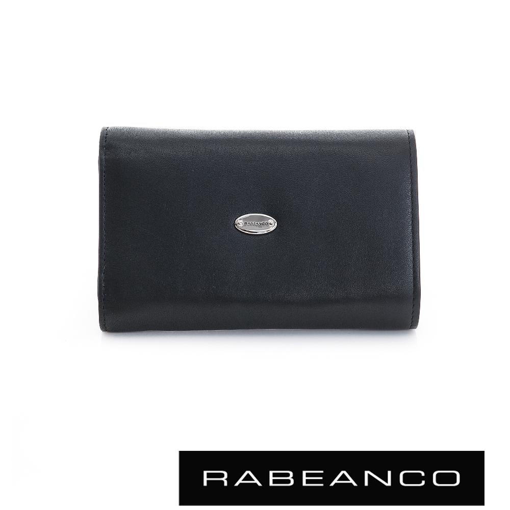 RABEANCO 歐式經典撞色拉鍊中夾 鋼琴黑