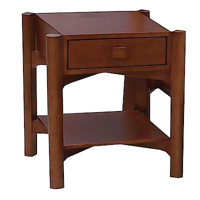 品家居 普登斯1.7尺楊木實木單抽床頭櫃-50x45x55cm-免組