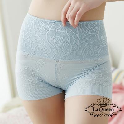 塑褲-舒適高腰蠶絲修飾褲-淺藍-La-Queen