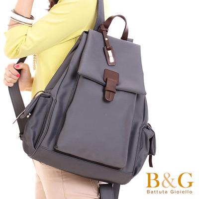 B&G輕盈多口袋雙肩後背包(光澤灰)