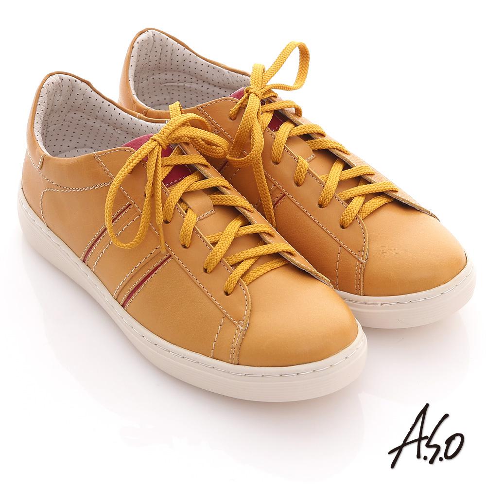 A.S.O 3D奈米系列 全真皮綁帶雙色拼接休閒鞋 黃