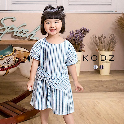 東京著衣KODZ酷琪琪聯名休閒條紋設計感棉質洋裝-童-S.M.L(共二色)