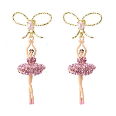 Les Nereides 優雅芭蕾舞女孩系列 優雅蝴蝶結玫瑰粉鑽女孩耳環