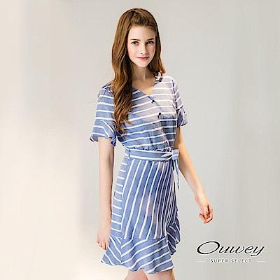 OUWEY歐薇 荷葉層次剪接條紋洋裝(藍)