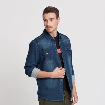Hang Ten - 男裝 - 刷色針織丹寧襯衫-藍