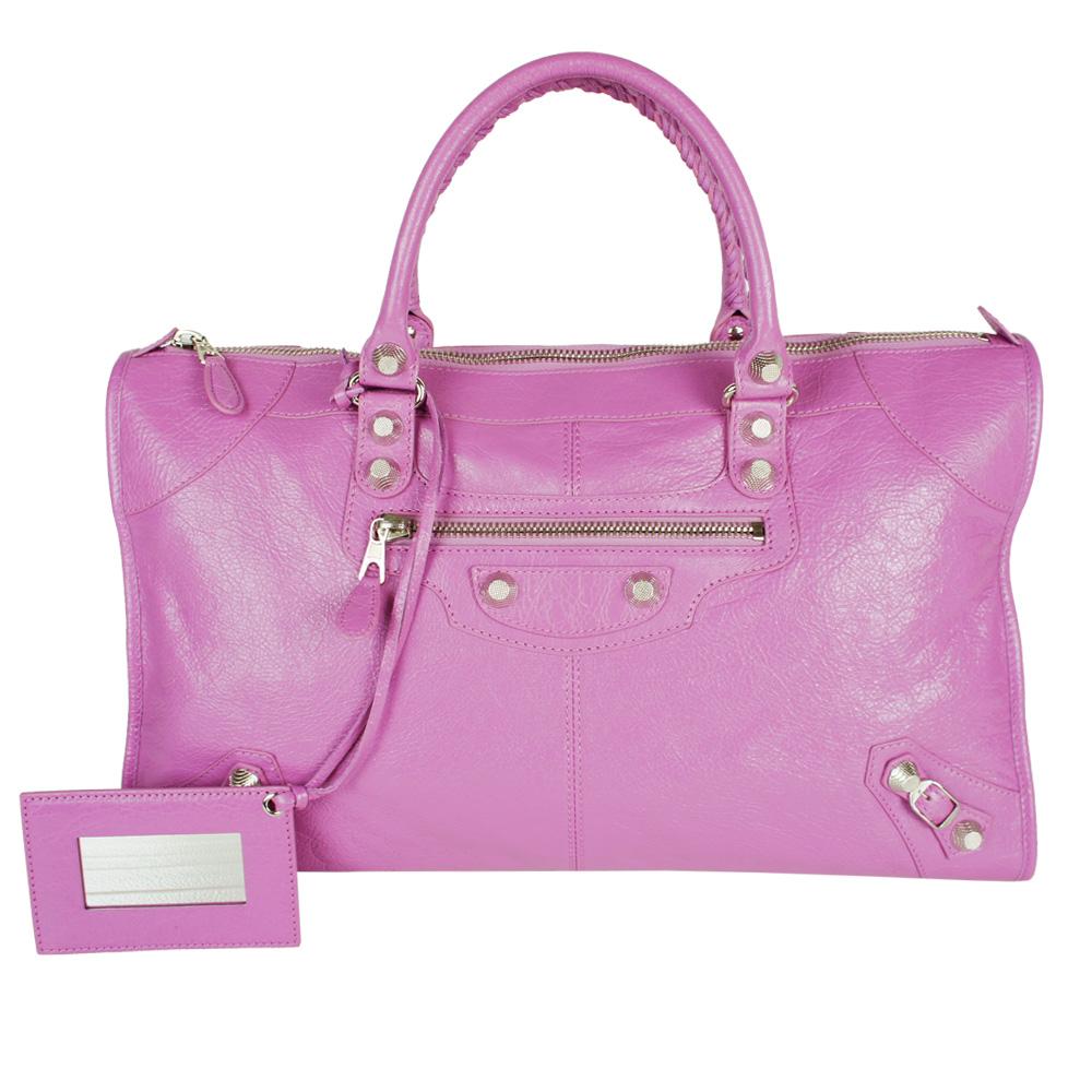Balenciaga 巴黎世家GIANT12 Work銀釦機車包(粉紫)