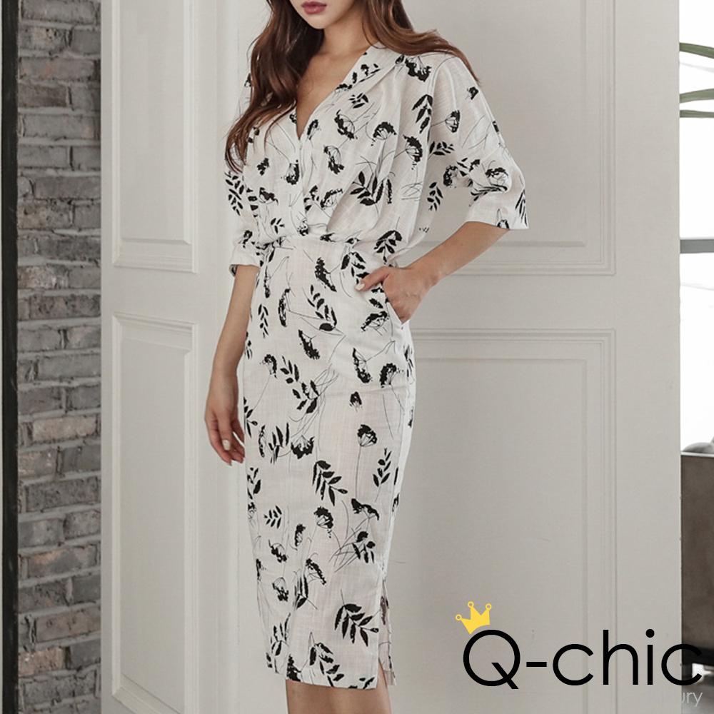 正韓 印花交疊V領收腰棉麻洋裝 (白色)-Q-chic