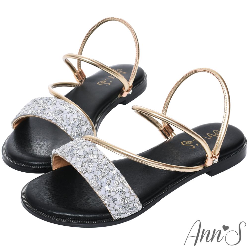 Ann'S舒適寬版小水鑽2way平底涼鞋-金