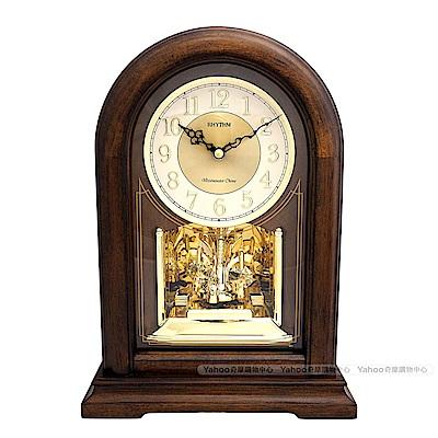 RHYTHM麗聲 典雅實木水晶鐘擺報時座鐘/31cm