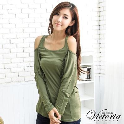 Victoria 披肩抽皺袖翅膀T-女-軍綠