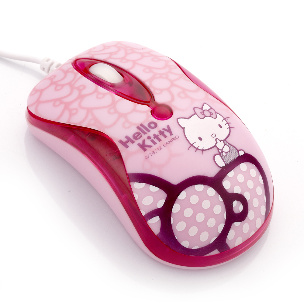 Hello Kitty晶彩LED光學滑鼠-蝴蝶結粉