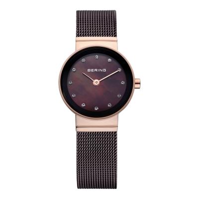 BERING 晶鑽米蘭帶系列 珍珠母貝錶盤 紅棕x玫瑰金 小錶面22mm