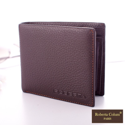 Roberta Colum - 法國荔枝紋軟牛皮可拆式左右翻卡片夾短夾-共2色
