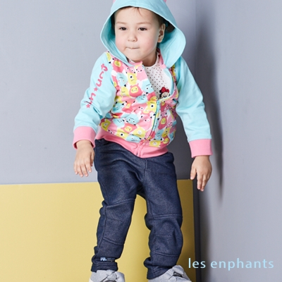 les enphants baby經典小象斜紋刷毛長褲 (共2色)