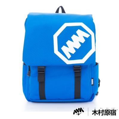木村原宿MM-大LOGO雙排袋扣學院筆電後背包-中藍