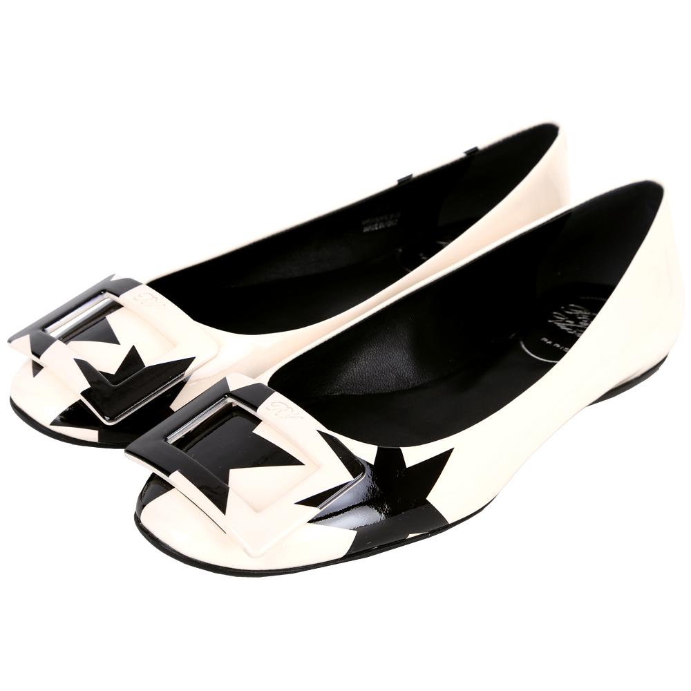 Roger Vivier Gommette 星型圖騰方框平底鞋(裸x黑)