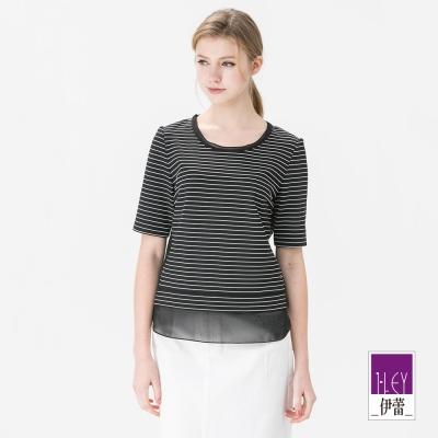 ILEY伊蕾 率性異素材剪接條紋上衣(黑)