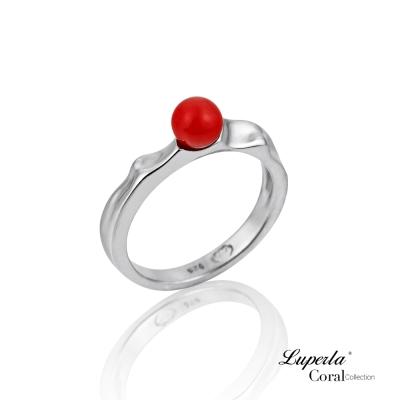 大東山珠寶 全紅珊瑚純銀戒指 長長久久