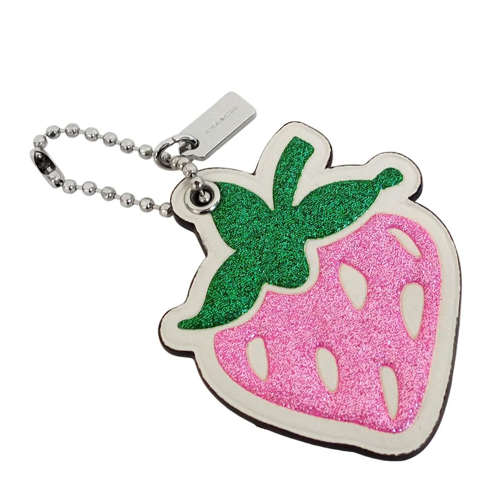 COACH真皮亮粉草莓造型掛飾珠扣鑰匙圈COACH