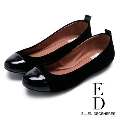 ED Ellen DeGeneres 真皮亮面鞋頭百搭平底鞋-黑色