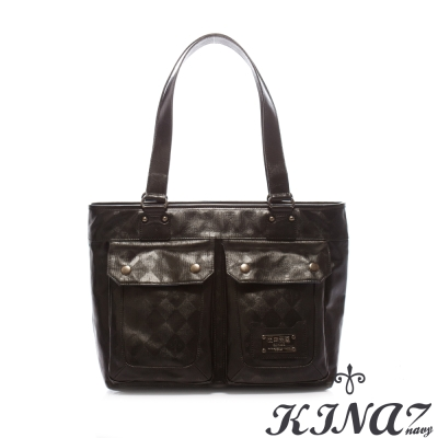 KINAZ-navy-人氣101-托特包-菱格哲學系列-特賣品