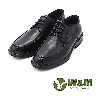 W&M SOFI氣墊感正裝型男綁帶男皮鞋-黑