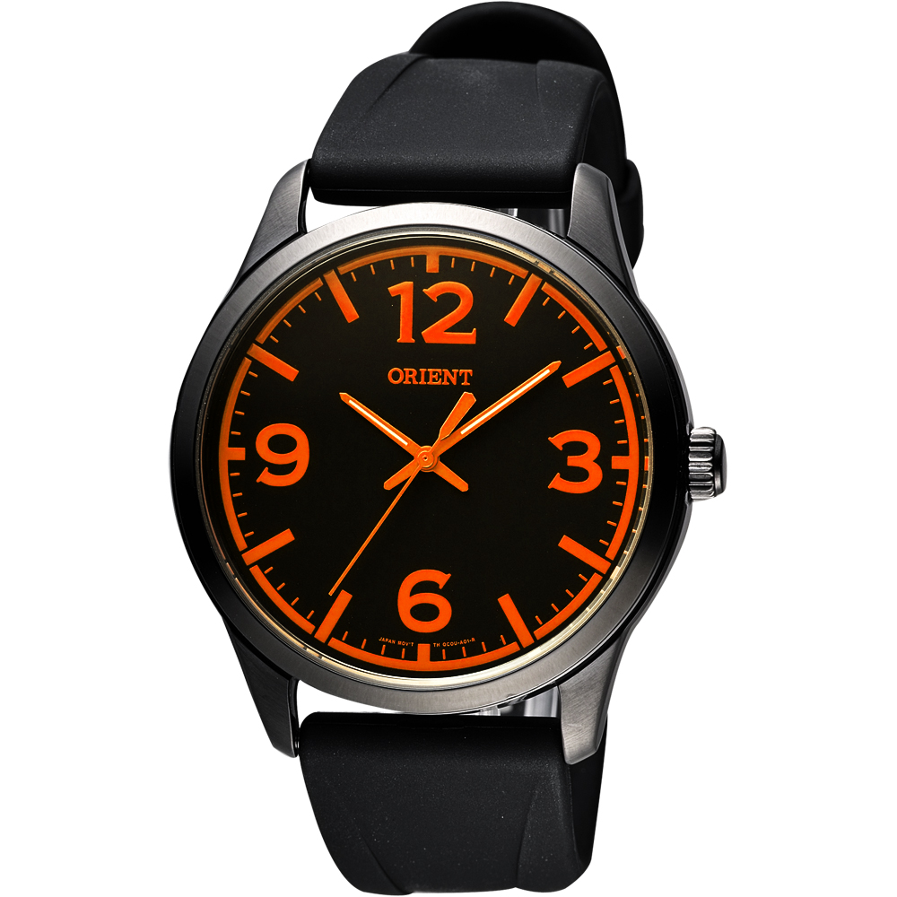 ORIENT 東方錶 SPORTS系列運動石英錶-黑x橘時標/43mm