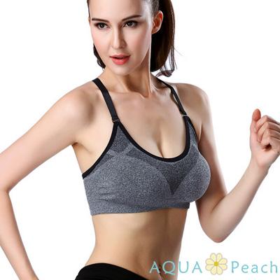 運動內衣 減震彈性可調肩帶運動內衣 (黑色)-AQUA Peach