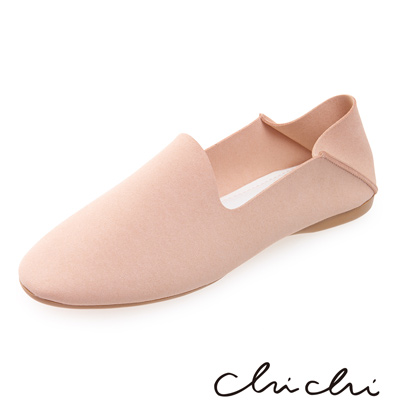 Chichi 韓國直送-簡約素面踩腳懶人鞋*粉膚色