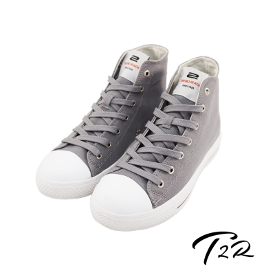 【T2R】韓國空運增高7cm經典款休閒氣墊高筒帆布鞋 氣質灰