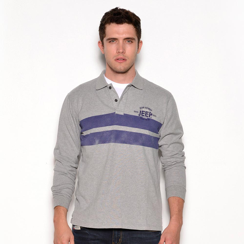 Jeep  條紋POLO衫-灰色