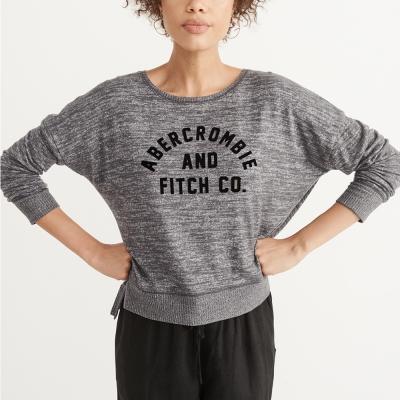 A&F 經典文字貼字針織毛衣(女)-深灰色 AF Abercrombie