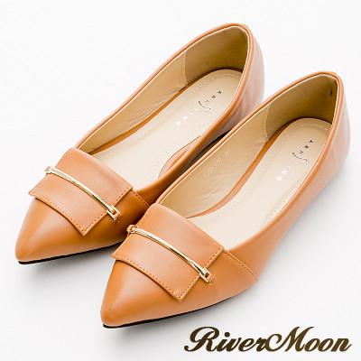 River&Moon尖頭鞋-俐落細金條通勤平底鞋-典雅棕