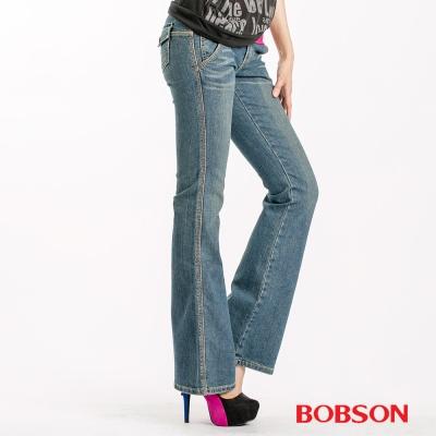 BOBSON 女款低腰伸縮小喇叭褲-淺藍