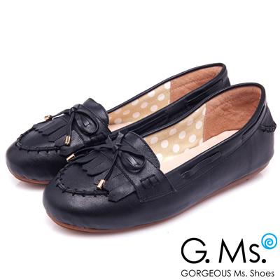 G.Ms. 經典魅力-流蘇蝴蝶結羊皮莫卡辛豆豆鞋-黑森林
