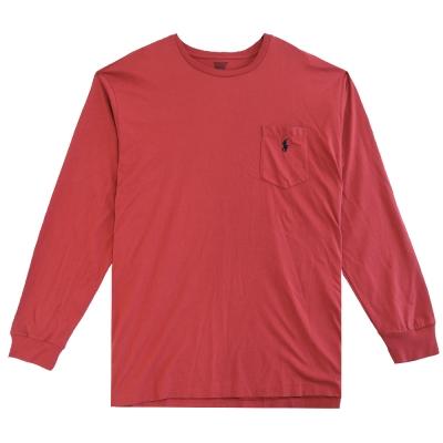 Ralph Lauren 小馬口袋長袖圓領男T(莓紅)(XL號)