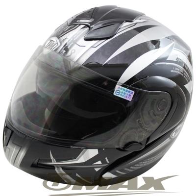 駭客全罩半罩可調式雙鏡片安全帽T796A-黑銀XL