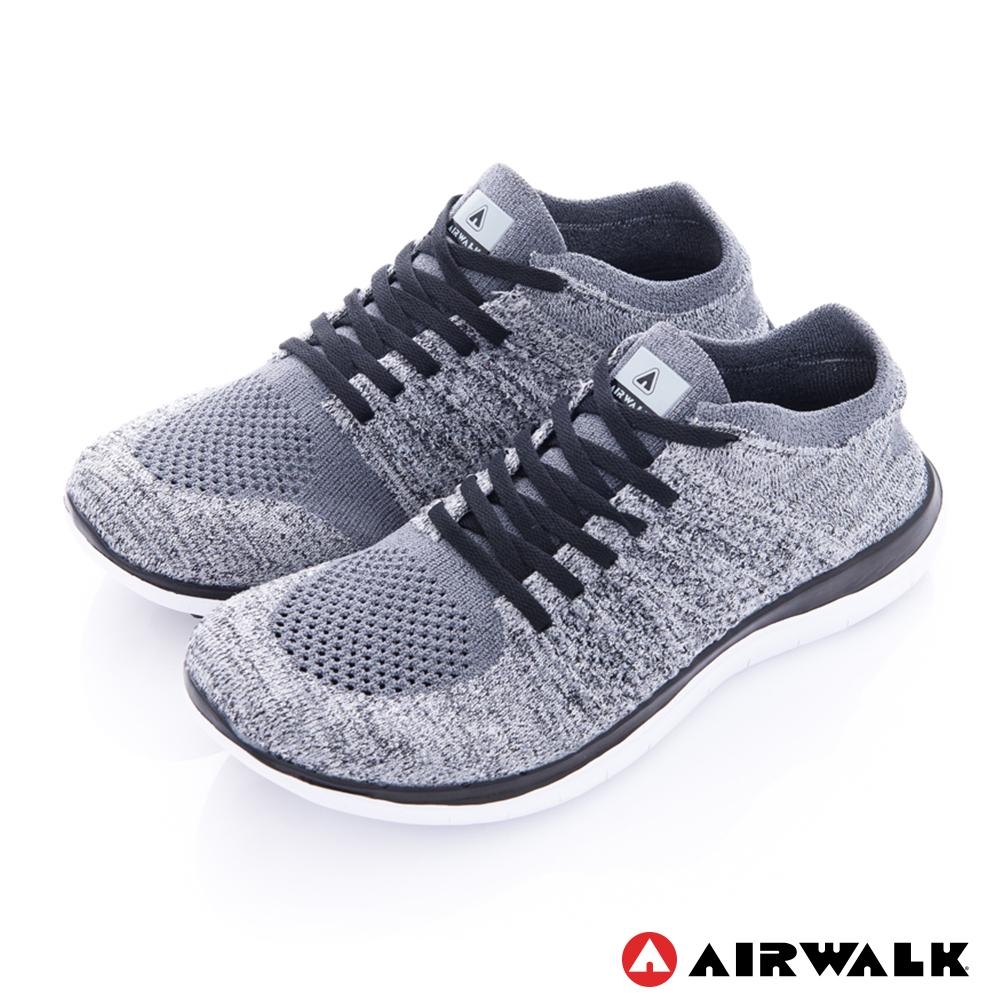 【AIRWALK】透氣輕量編織慢跑鞋運動鞋男款-灰色