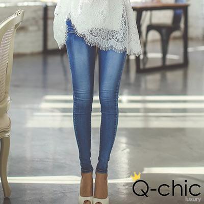 漸層刷白修身窄管牛仔褲 (藍色)-Q-chic