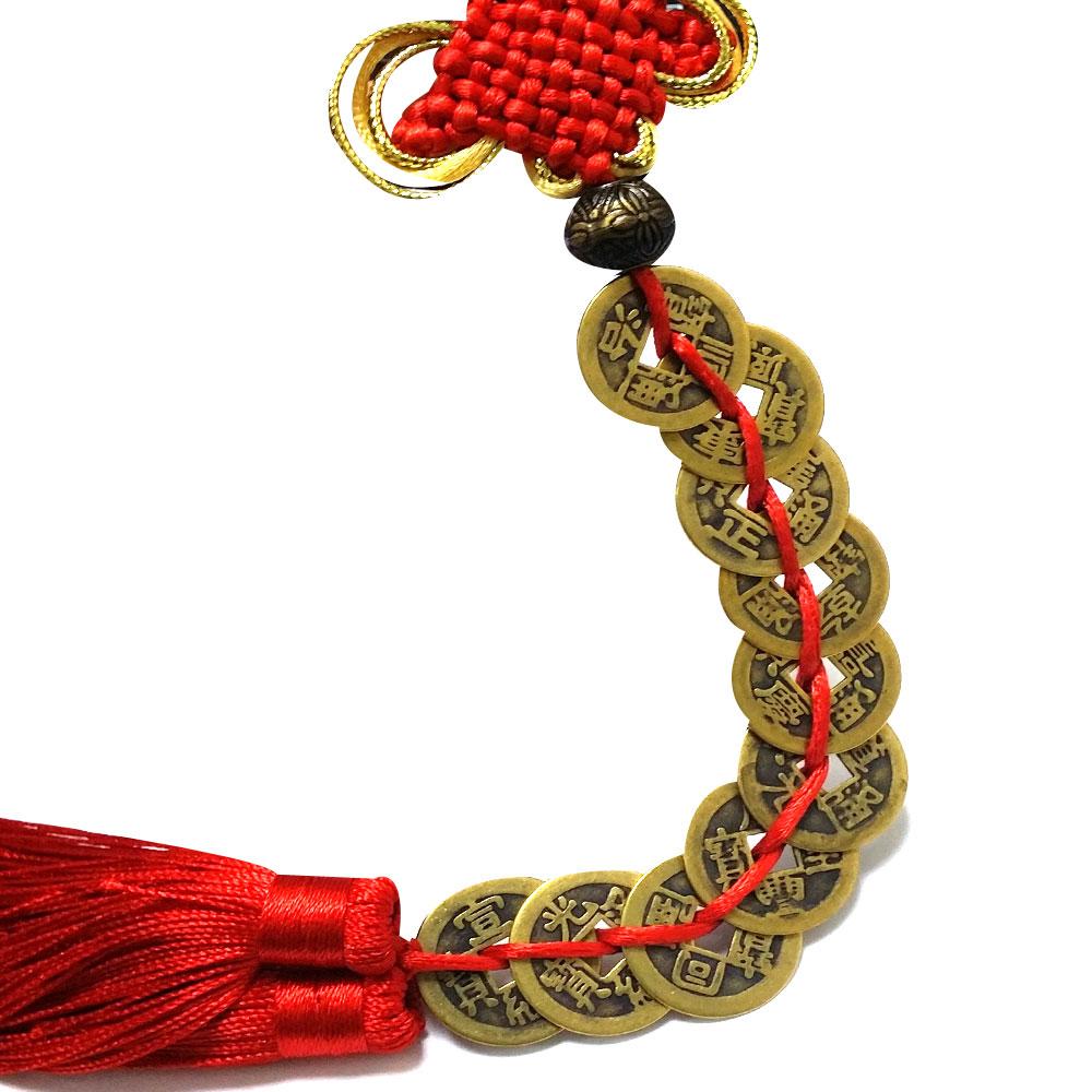 悠然閣 (2串)純銅十帝錢 十帝銅錢 雙流蘇 中國結精美吊飾 掛飾