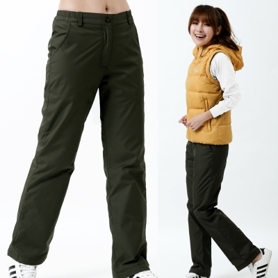 【遊遍天下】女款百搭防風防潑水禦寒刷毛長褲/ 防風雪褲 P107墨綠