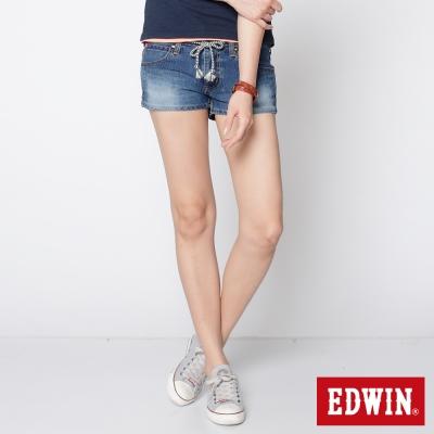 EDWIN 短褲 迦績褲JERSEYS針織牛仔褲-女-石洗綠