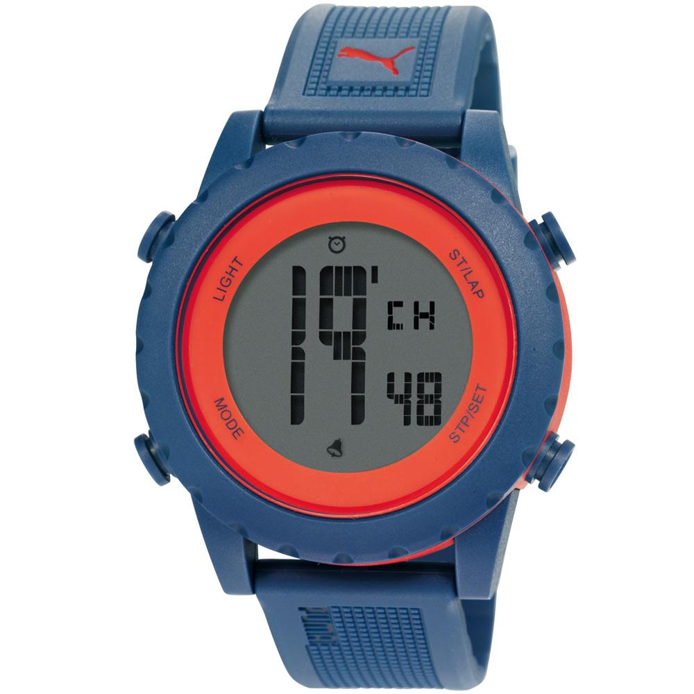 PUMA SPLASH 熱力激發運動電子腕錶-藍色橘圈/45mm