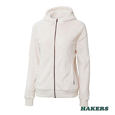 【HAKERS】女款 保暖毛絨連帽外套(米白)