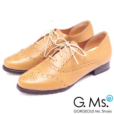 G.Ms. MIT系列-全真皮沖孔雕花綁帶牛津鞋-英倫駝