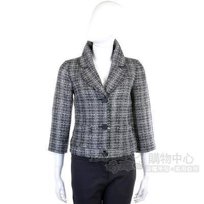VALENTINO 灰色格紋毛呢西裝外套