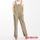 BOBSON 女款低腰刷白牛仔吊帶長褲