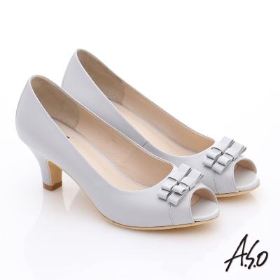 A.S.O 氣質名媛 全真皮蝴蝶魚口高跟鞋 淺灰