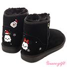 Disney collection by grace gift耶誕造型雪花電繡雪靴 黑