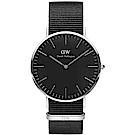 DW Daniel Wellington 經典黑-銀框/40mm(DW00100149)